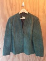 COLDWATER CREEK Women's Plus Jacket Long Sleeve Button Leather Green.Size 1X