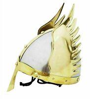 Medieval Armor Brass Viking Wing Helmet - Halloween Costume Brass Finishing gift