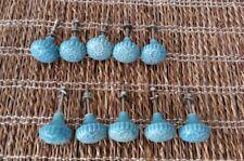 Anthropologie Ceramic Drawer Knobs Pulls Lot of 10 Flower Blue