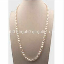 14k gold classic 24inch 7-8mm south sea round white pearl necklace JN1160