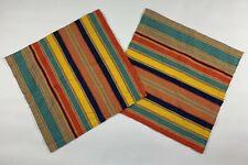 Pottery Barn Striped Multicolor Napkin Set of 2 Cotton 20 x 20 Orange Blue