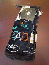 plush velvet blanket throw 50x60 nwt day of the dead candle skull