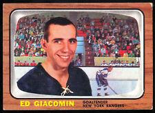 1966 67 TOPPS HOCKEY #23 ED GIACOMIN EX-NM NEW YORK N Y RANGERS