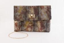 Women's Copper and Black Animal Print Sequins Clutch