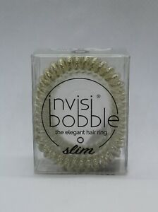 Invisibobble Slim Stay Gold 3 Pack Clear over Metallic Elegant Hair Ring NEW NIB