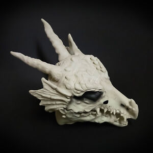 Over the Head White Bone Dragon Skull Costume Moving Mouth Masquerade Mask