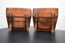 Motorcycle Side Pouch Real Brown Leather 2 BagsPouch Saddlebags Panniers Saddle
