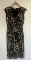 PLANET Size 8 Brown Black Snake  Print Ruched Wrap Effect  Dress Lined Stretch