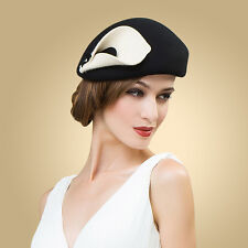 A209 Ladies vintage Beret Felt Wool Fascinator Cocktail Cheltenham Fesitval Hat