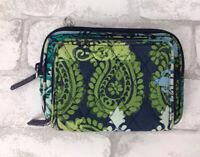 "Vera Bradley Zip Around Wallet Blue Green Paisley 6x4.5"""