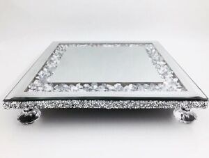 Crushed Diamond Glass Edge Square Mirror Candle Plate Display Tray Crystal Feet