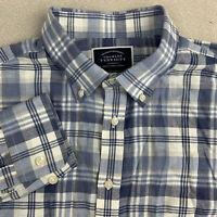 Charles Tyrwhitt Button Up Shirt Mens Large Slim Fit Blue Plaid Long Sleeve