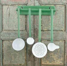 Vtg Enamel Spoon Utensils Rack with Spoons Enamelware Wall Holder Reseda green