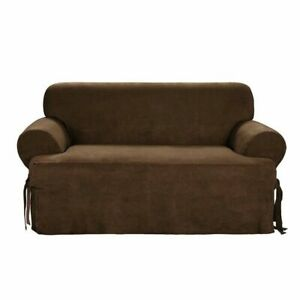 Sure Fit Sueded Twill Loveseat Slipcover in Chocolate Relaxed Fit Collection NEW