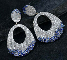 2.50 Ct Blue Sapphire & Diamond Earrings 14k White Gold