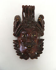 """8"""" Vintage Asian Chinese Emperor & Dragons Hand Carved Wood Mask Rosewood"""