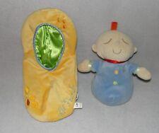 Manhattan Toy Lil Peanut Plush Baby Doll Blue Yellow Soft Stuffed Toy Satin