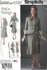 Simplicity D0580 8242 1940's Suit or 2 Piece Peplum Plus Size 20W - 28W New