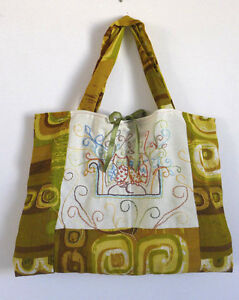 Handmad  Bag Quilted Cotton Fabrics +Embroidery Tote  18x13 inch Purse 2 Handels
