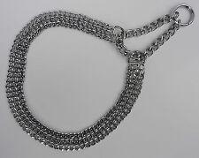 Kettenhalsband - HALSKETTE, Halsumfang max 58cm/20mm - 3reihig Neu Chrome
