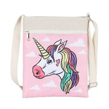 Trendy Unicorn Bag Printed Canvas Bag Purse Travel Shoulder Bag Handbag Pink