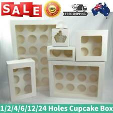 1/2/4/6/12/24 Holes 100x Cupcake Box Window Face Cake Boxes Boards Cupcake Box_