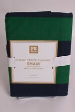 Pottery Barn PB Teen Stowe Stripe Flannel standard sham (for duvet) green navy