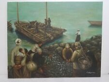 T. Maguire Oil Painting Canvas Asian Fishing Village 30x24