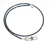 """925 Sterling Silver Multi Black Spinel 2mm Beads Stone 12-40"""" Strand Necklace O3"""