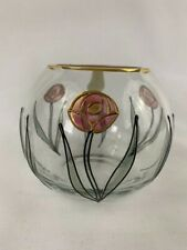 New listing Round Crystal Gold Rim Hand Painted Vase
