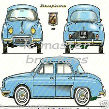 Renault berline  DAUPHINE  - Poster couleur voiture de collection