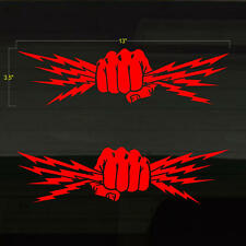 """Fist Lightning Bolts Electrician Power Set of 2 RED Decal Stickers 13""""x3.5"""""""