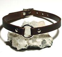 Brown Leather O-Ring Plain Choker Necklace Gothic punk biker hero Handmade UK