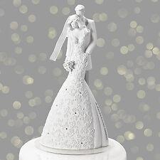 """9"""" Cherish White Wedding Cake Topper Gina Freehill Design Bride & Groom # 10863"""