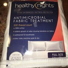 New Healthy Nights Antimicrobial Fitted Waterproof Mattress Protector Full 54x75