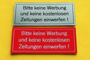 """2x Briefkasten-Schild """"Keine Werbung"""" Rot oder Silber selbstklebend Aufkleber"""