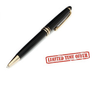 Modern Black Ink Ballpoint Pen Classic Design Luxury Pen Gold Silver Clip Office