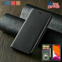 For iPhone 11 Pro Max Case Magnetic PU Leather Flip Wallet Card Slot Stand Cover