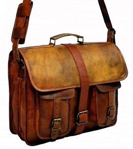 New Classic Brown Leather Messenger Satchel Shoulder Laptop Briefcase Men's Bag