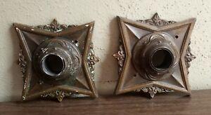 Pair Antique Art Deco CAST BRONZE flush ceiling mount LIGHT fixtures LAMP PARTS
