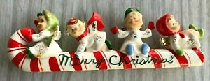 Vintage Christmas Ornament Elf Pixie Candy Cane Sleigh Ride Angels Canada