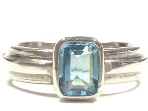 Beautiful Ladies Sterling Silver Blue Topaz Ring - Size 6.5