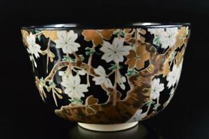 L3198:Japan Kiyomizu-ware Gold paint Flower TEA BOWL Green tea tool Tea Ceremony