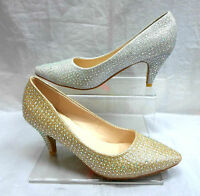 LADIES POINTED GLITTER DIAMANTE BRIDAL WEDDING EVENING SHOES SIZE 3-8 LSH-3989