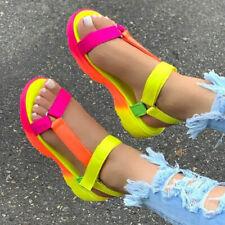 Womens Open Toe Sandals Wedge Heels Ankle Strap Summer Casual Roman Slingback Sz