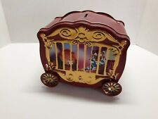 Sherwood Red Tin Circus Cage Bank With Clear Sides ~ Wheels Spin ~ Pre-Owned