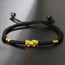 Pure 24K Yellow Gold Bless Pixiu Bead Black Lucky Knitted Bracelet 16cm