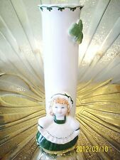 Vtg. Josef March St. Patrick's Birth day Irish Shamrock Girl Angel Vase Figurine
