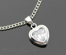 "SILVER SP CLEAR CUBIC ZIRCONIA LOVE HEART PENDANT NECKLACE 45CM CURB 18"" CHAIN"