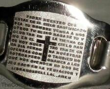 SILVER TONED STRETCH BRACELET with CROSS ~ SPANISH LORD'S PRAYER